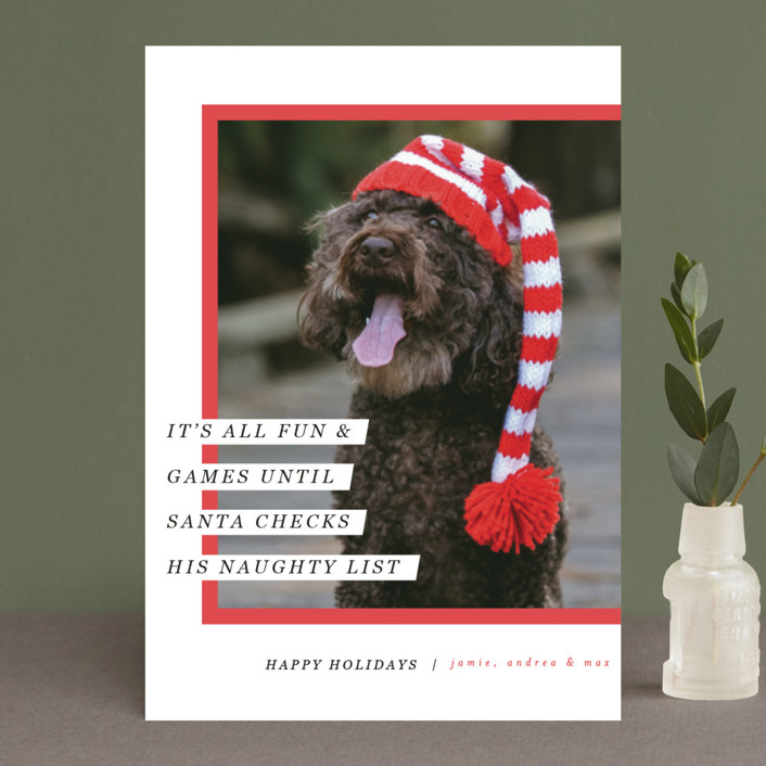 """Santa's Pet"" - Holiday Postcards in Cherry by Pixel and Hank."