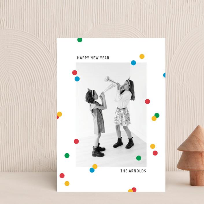 """vibrant confetti"" - Vintage Holiday Postcards in Cherry by Ellen Schlegelmilch."