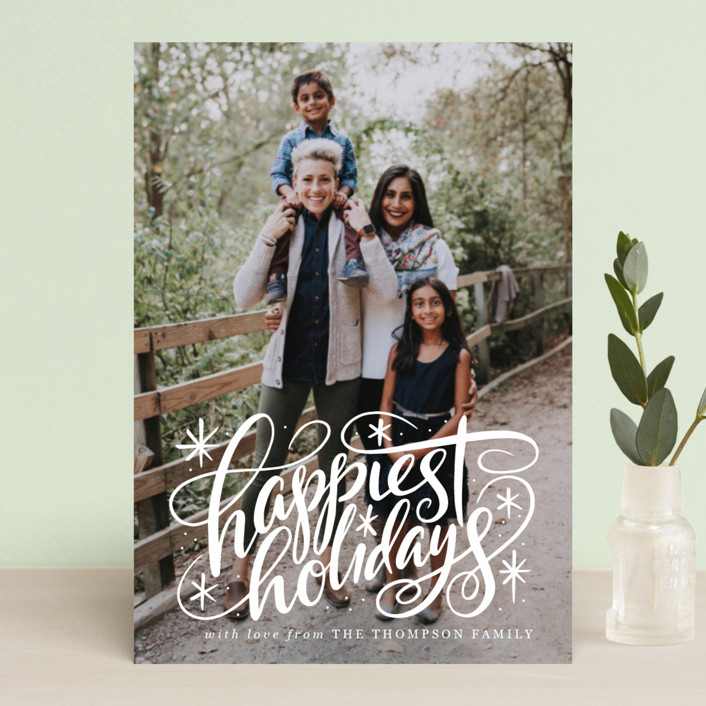"""Hand Lettered Happiest Holidays"" - Holiday Postcards in Winter by Jamie Schultz Designs."
