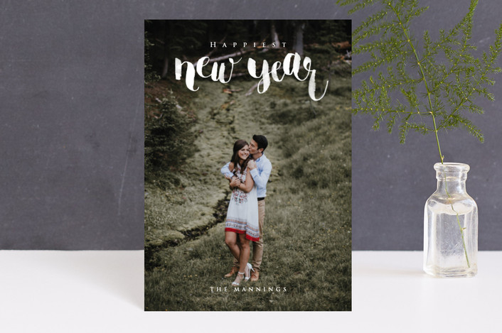 """Brush Lettered New Year"" - Holiday Postcards in Snowfall by Four Wet Feet Studio."