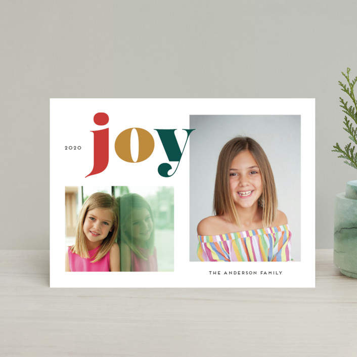 """""""Christmas Time Joy"""" - Holiday Postcards in Christmas Tree by Little Print Design."""