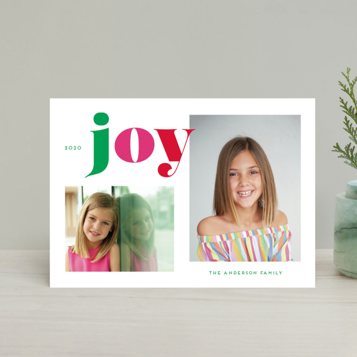"""Christmas Time Joy"" - Holiday Postcards in Gumdrop by Little Print Design."