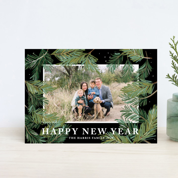 """""""Winter Pine"""" - Holiday Postcards in Licorice by Rebecca Durflinger."""