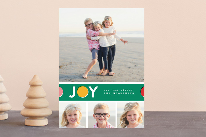 """""""Joy Dot"""" - Holiday Postcards in Emerald by Pistols."""