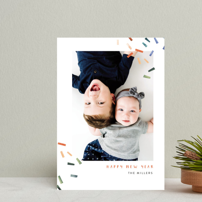 """Joyful Confetti"" - Modern Holiday Postcards in Poppy by Kelly Ventura."