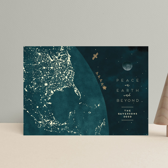 """""""And Beyond"""" - Bohemian Holiday Postcards in Cerulean by Gwen Bedat."""
