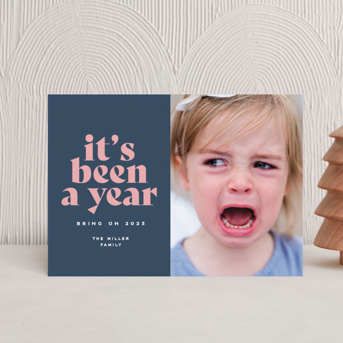"""""""It's been a year"""" - Funny Holiday Postcards in Wintermint by Owl and Toad."""