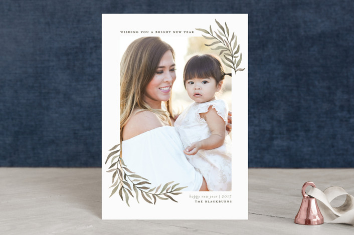 """Olive Branches"" - Holiday Postcards in Olive by Wildfield Paper Co.."