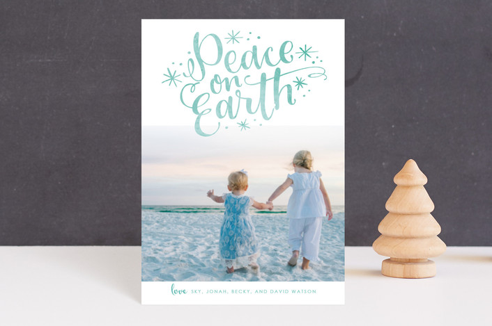 """Lettered Peace"" - Holiday Postcards in Seafoam by Makewells."