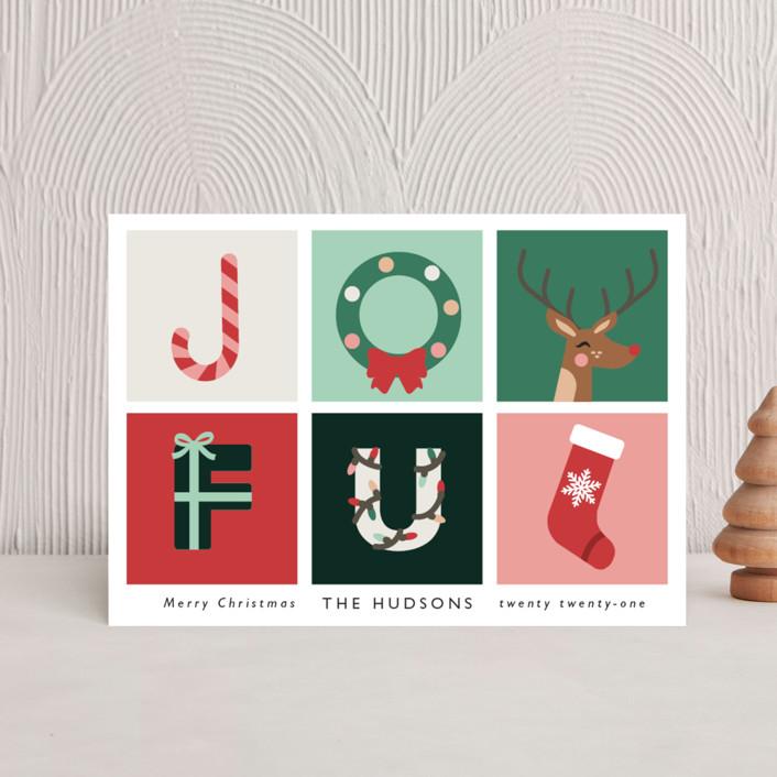 """""""Joyful"""" - Modern Holiday Postcards in Candy by Caitlin Considine."""
