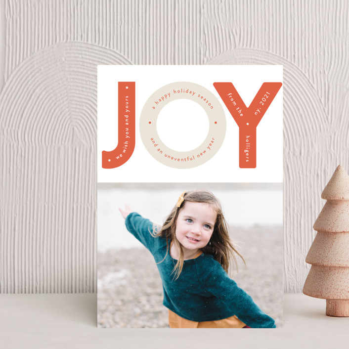 """Capital Joy"" - Modern Holiday Postcards in Peppermint by Gwen Bedat."