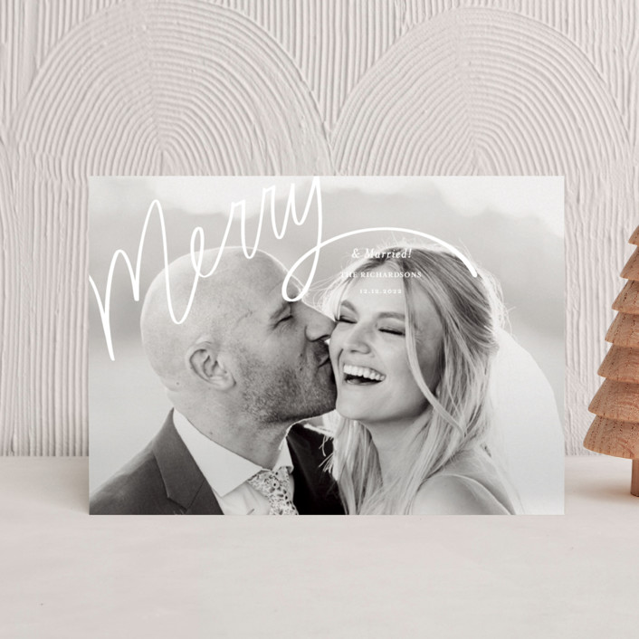 """""""Merry Hand Lettered Script"""" - Modern Holiday Postcards in Wedding Cake by Becky Nimoy."""