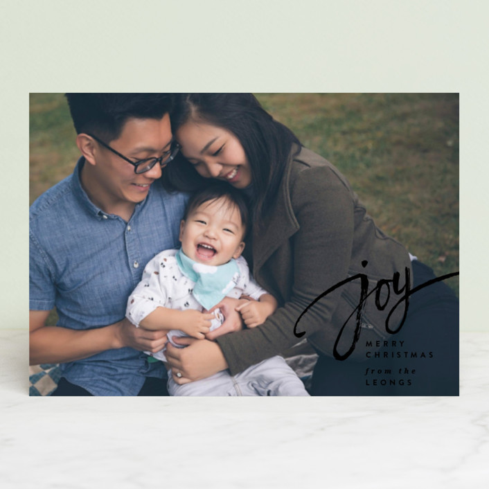 """Joy Script"" - Holiday Postcards in Onyx by Owl and Toad."