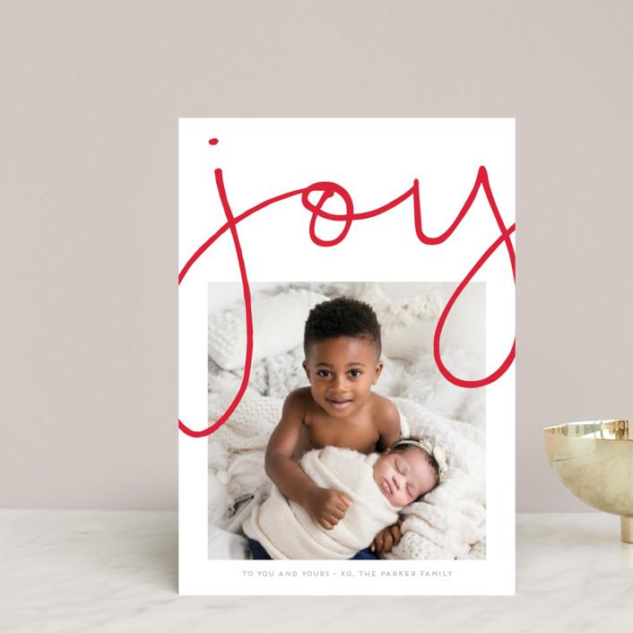 """""""More Joy"""" - Modern Holiday Postcards in Polar Bear by Kaydi Bishop."""
