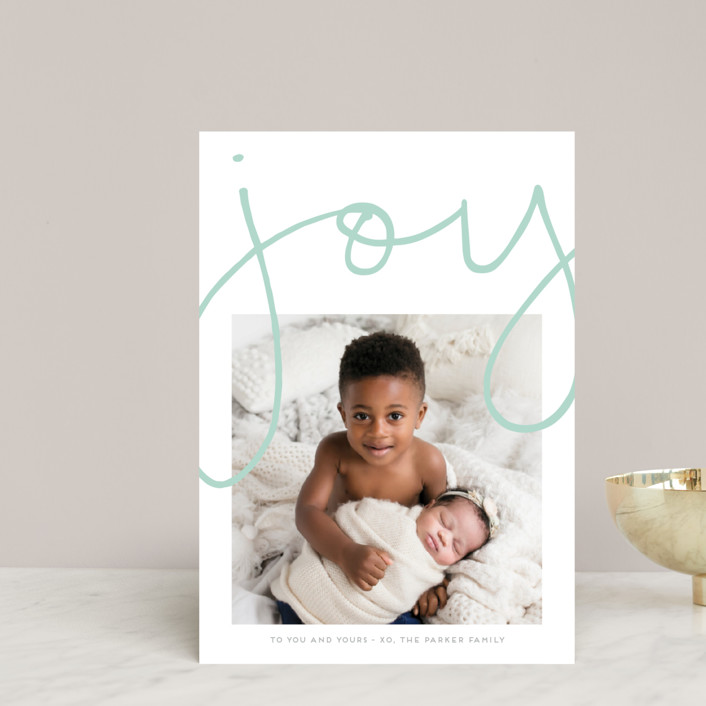 """More Joy"" - Modern Holiday Postcards in Robin's Egg by Kaydi Bishop."