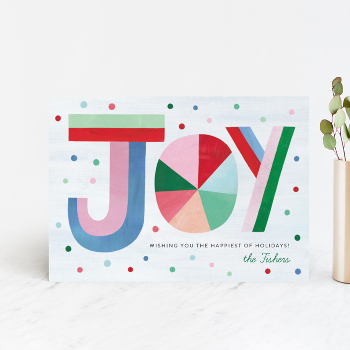 """Hand Lettered Joy"" - Modern Holiday Postcards in Bubblegum by melanie mikecz."