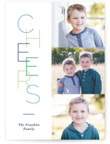 This is a blue christmas postcard by Pixel and Hank called Tall Cheers with standard printing on signature in postcard.