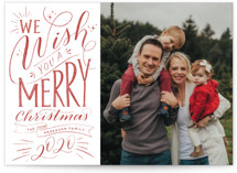 This is a red christmas postcard by Nicole Barreto called Hand-lettered Wish with standard printing on signature in postcard.