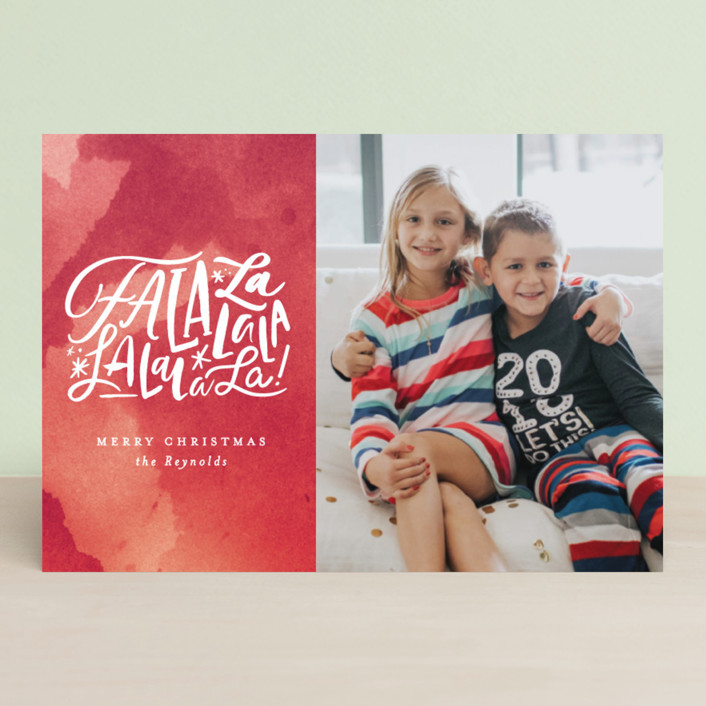 """""""Fa La Forever"""" - Holiday Postcards in Crimson by Carrie ONeal."""