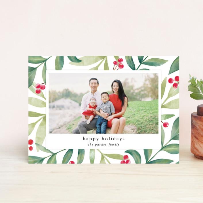 """Holiday Greenery"" - Holiday Postcards in Holly Berry by Jana Volfova."