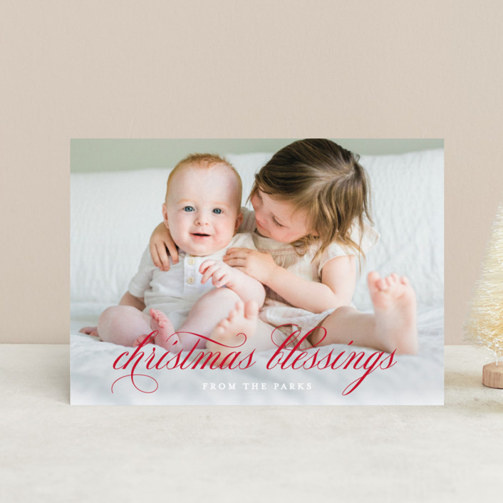 """""""Elegant Christmas Blessings"""" - Holiday Postcards in Ruby by Kimberly FitzSimons."""