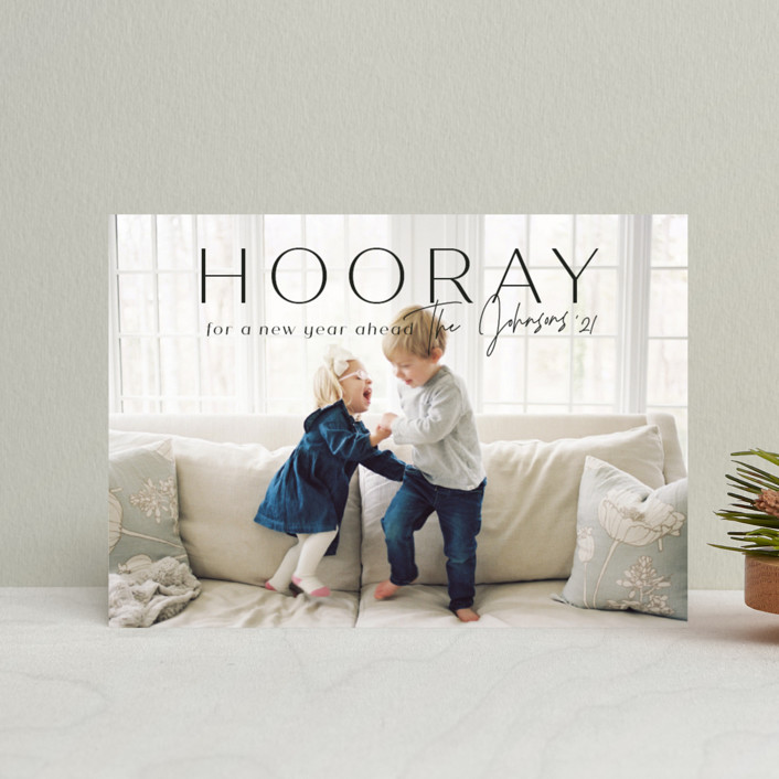 """hooray for a new year"" - Holiday Postcards in Licorice by Rebecca Durflinger."