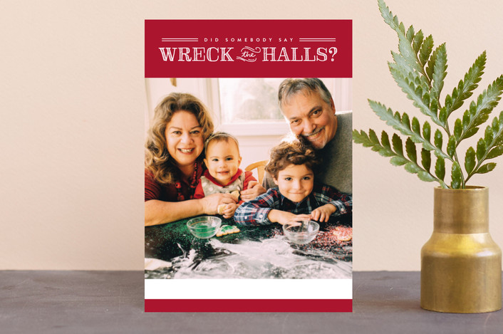 """""""Wreck the Halls"""" - Funny Holiday Postcards in Smashed Cranberries by Sara Hicks Malone."""