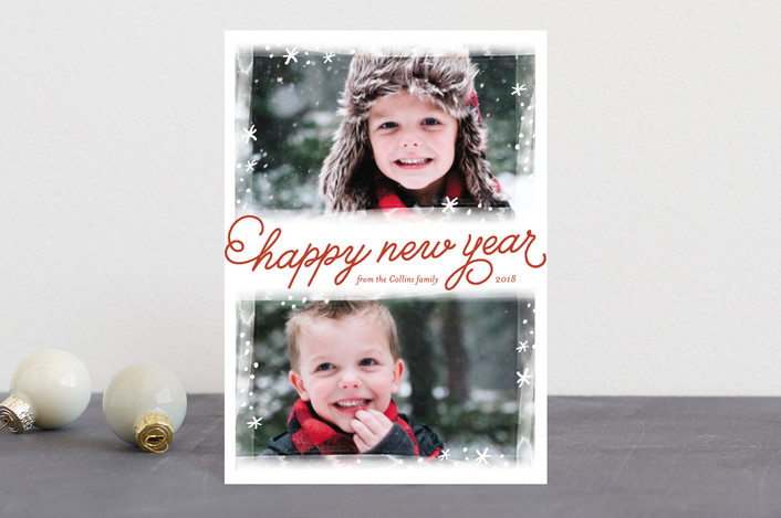 """""""Frosted Frames"""" - Holiday Postcards in Crimson by Laura Hankins."""