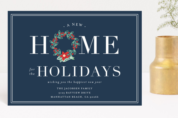 """Home for the Holidays"" - Holiday Postcards in Navy by Shirley Lin Schneider."