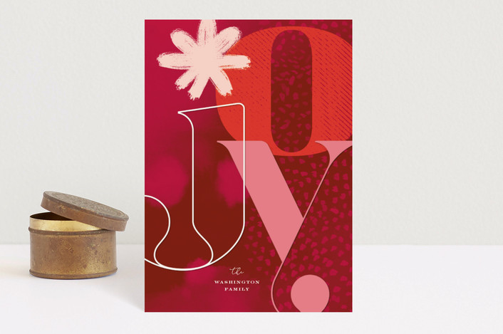 """Bold Joy and Watercolor"" - Modern Holiday Postcards in Crimson by fatfatin."