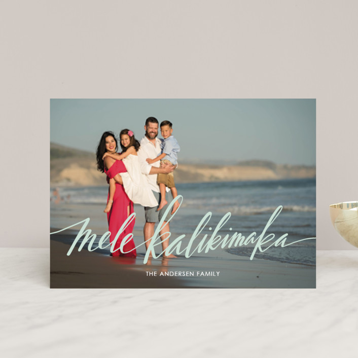 """Modern Mele Kalikimaka"" - Holiday Postcards in Mint by Jamie Schultz Designs."