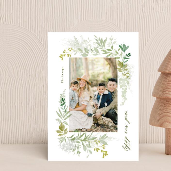 """green wisps"" - Holiday Postcards in Greenery by Phrosne Ras."