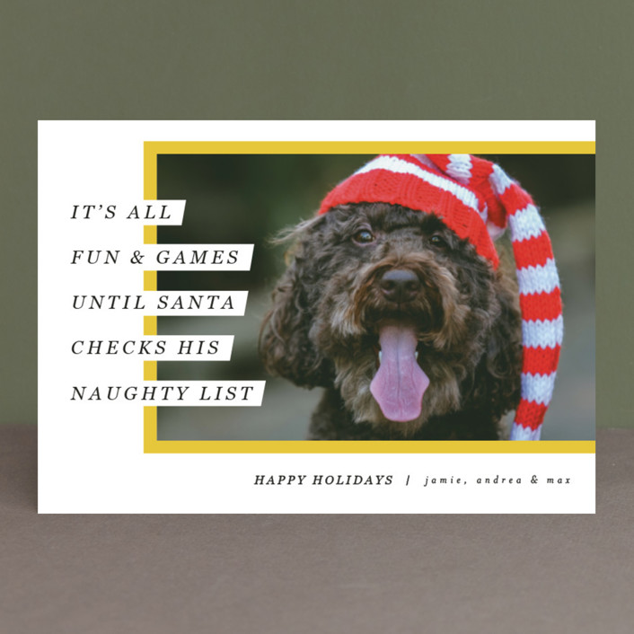 """""""Santa's Pet"""" - Holiday Postcards in Cherry by Pixel and Hank."""