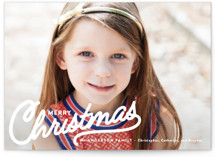 This is a white christmas postcard by Melissa Egan of Pistols called Vintage Christmas Script with standard printing on signature in postcard.