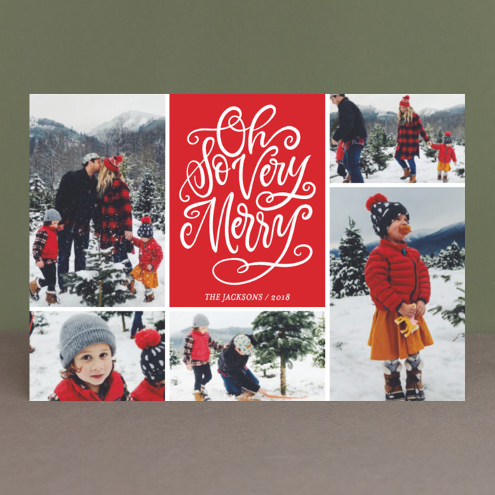 """Be Jolly Collage"" - Holiday Postcards in Santa Suit by Laura Bolter Design."