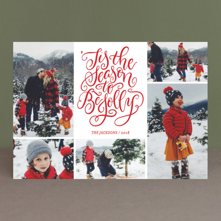 """""""Be Jolly Collage"""" - Holiday Postcards in Snow by Laura Bolter Design."""