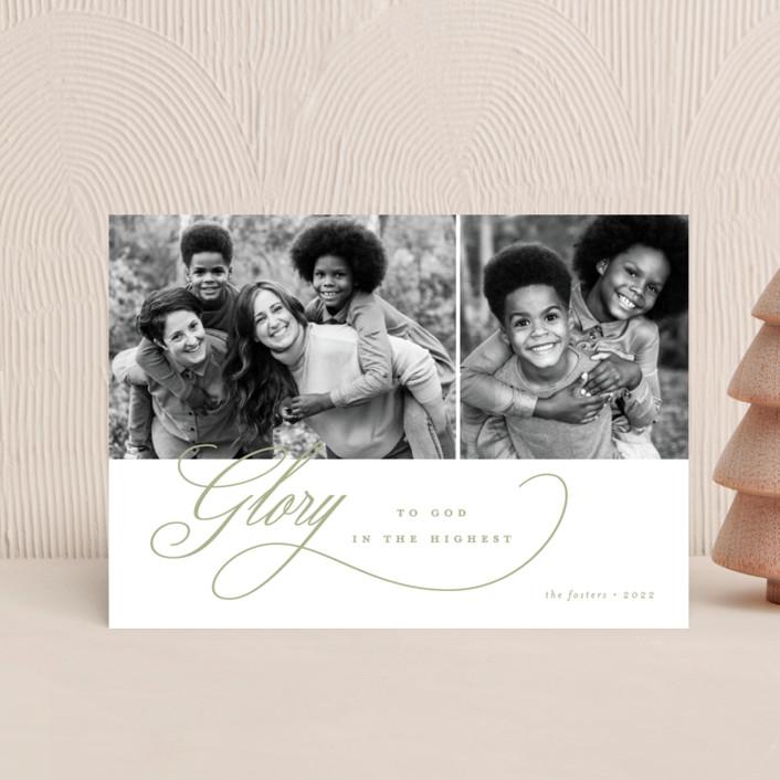 """Elegant Glory"" - Holiday Postcards in Sage by Brianne Larsen."