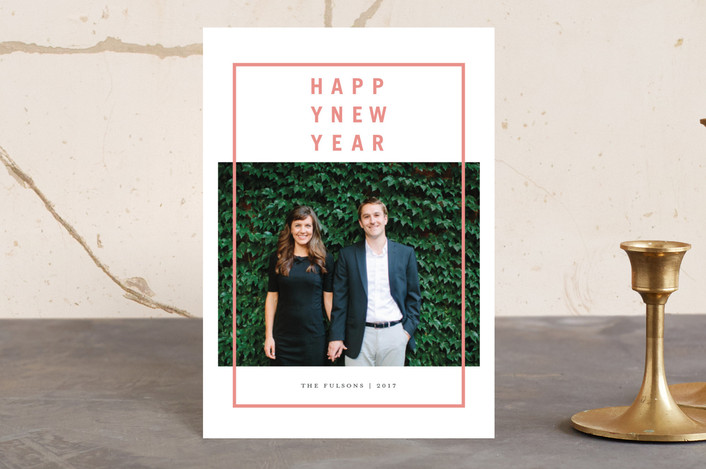"""Modern Merry"" - Holiday Postcards in Posey Peach by Grace Cobb."
