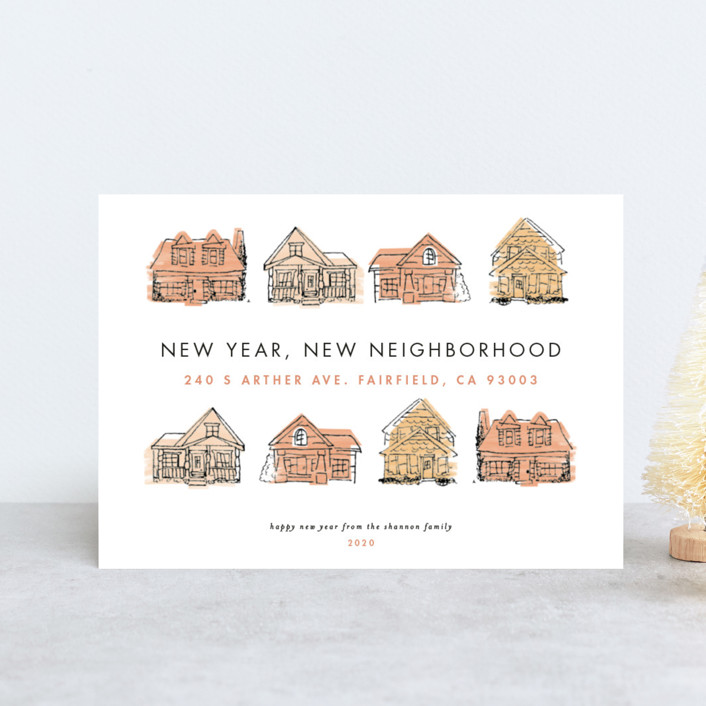 """New Year New Neighborhood"" - Holiday Postcards in Pinkpeach by Shiny Penny Studio."
