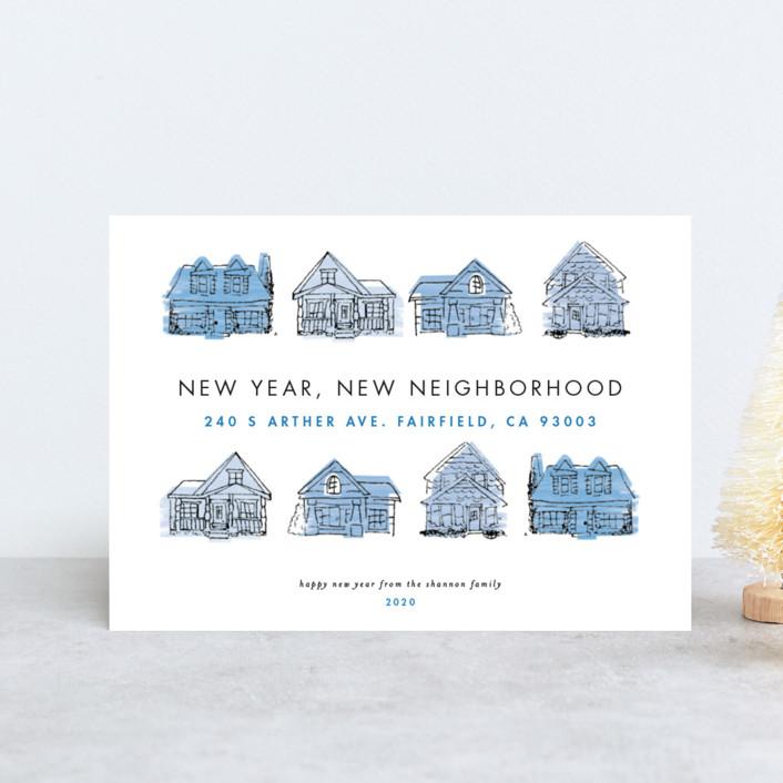 """New Year New Neighborhood"" - Holiday Postcards in Cornflowerblue by Shiny Penny Studio."