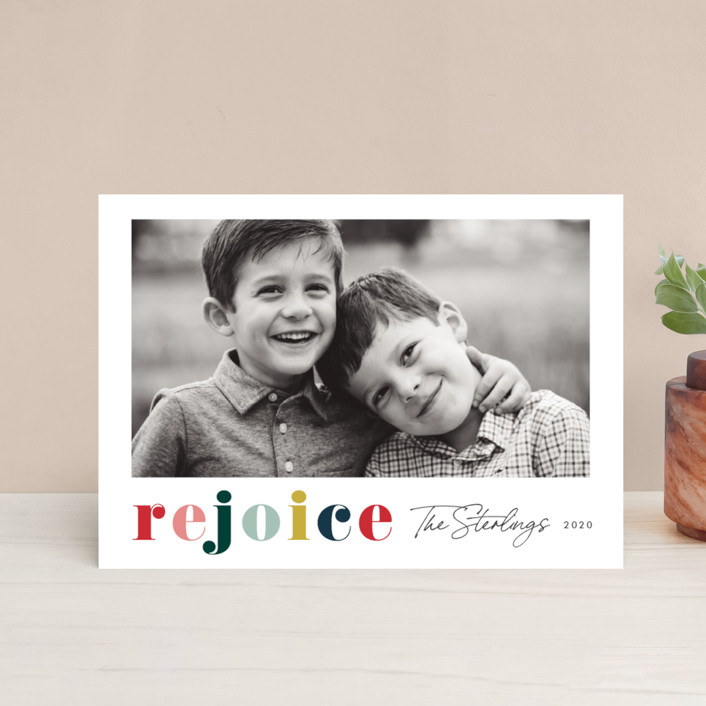 """""""Rainbow rejoice"""" - Holiday Postcards in Rainbow by Stacey Meacham."""