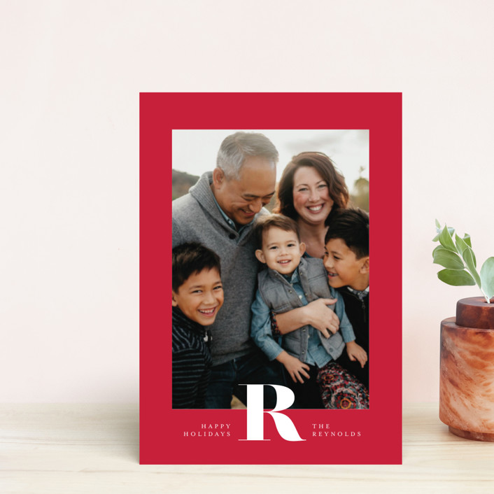 """""""Minimal Initial"""" - Holiday Postcards in Poinsettia by Carrie ONeal."""