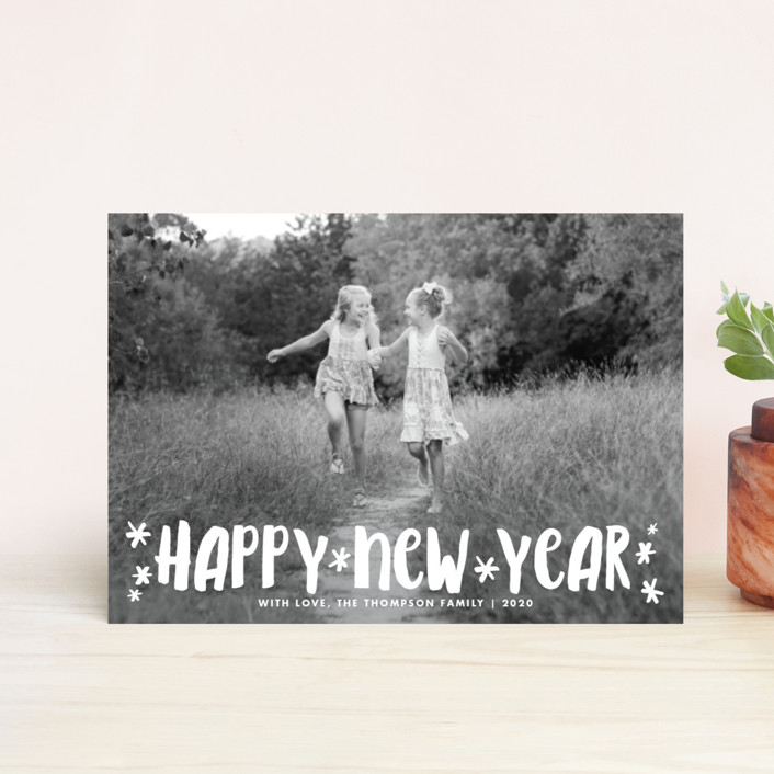 """""""Fun Happy Type"""" - Modern Holiday Postcards in Ash by Paper Dahlia."""
