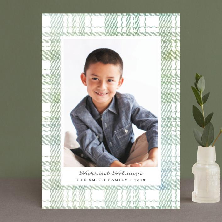 """Festive Plaid"" - Holiday Postcards in Evergreen by Carolyn Nicks."