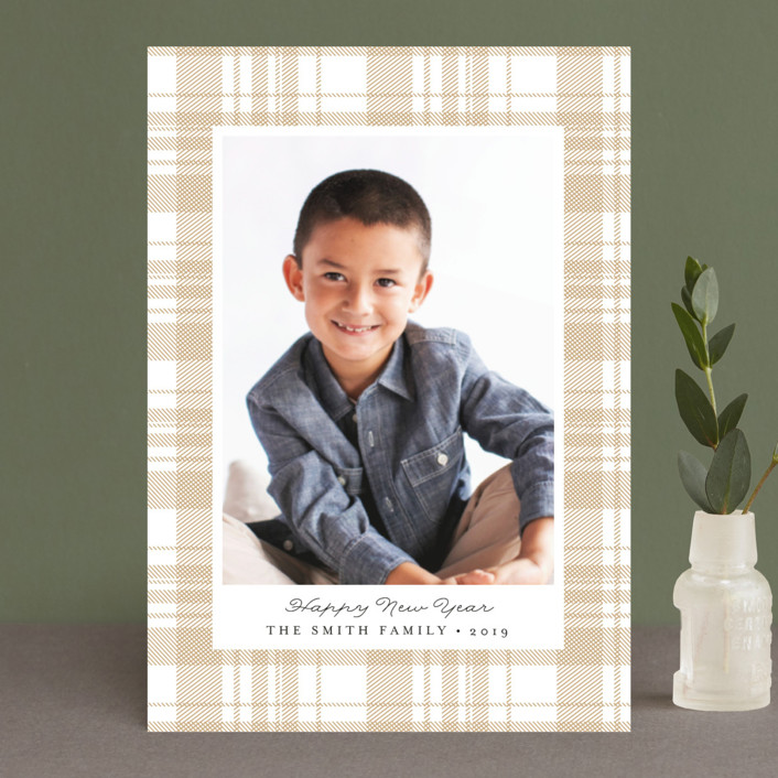 """Festive Plaid"" - Holiday Postcards in Smoke by Carolyn Nicks."