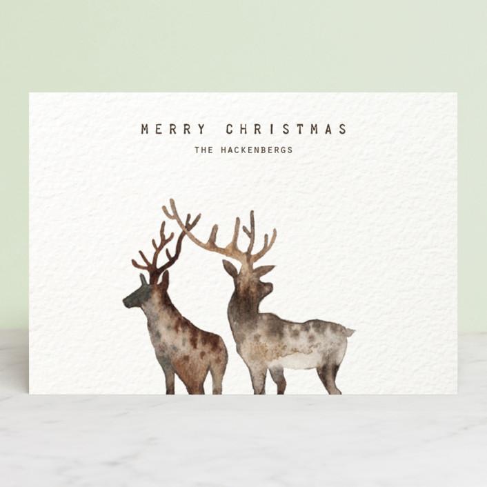 """""""Merry Christmas, My Deers"""" - Bohemian Holiday Postcards in Brown Beige Deer by jinseikou."""