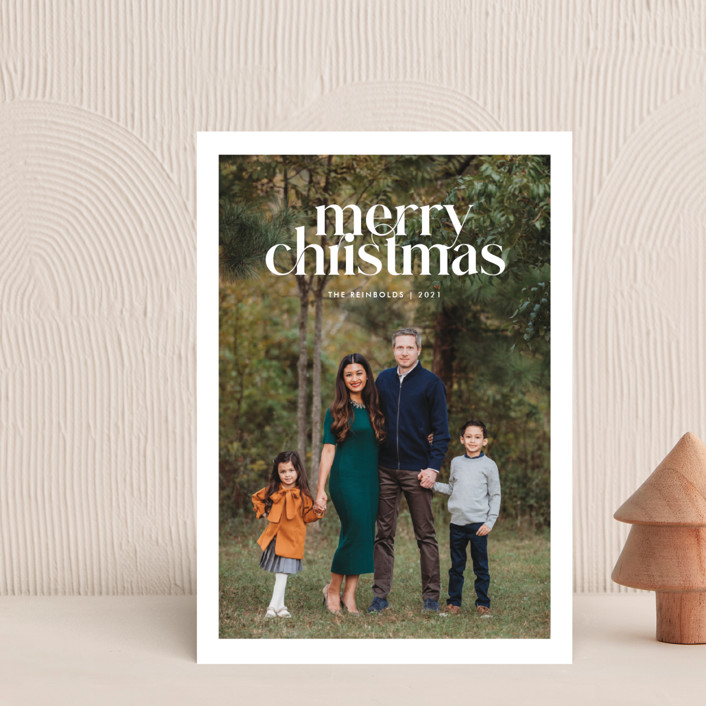 """""""Striking Type"""" - Holiday Postcards in Snowflake by Sandra Picco Design."""