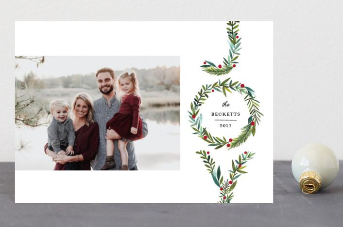 """Greenery Joy"" - Holiday Postcards in Wreath by Petra Kern."