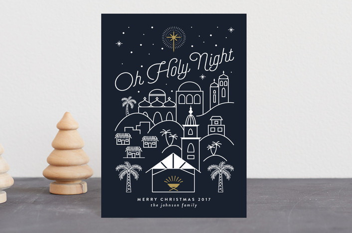 """Bethlehem at Night"" - Holiday Postcards in Navy by Joanna Griffin."