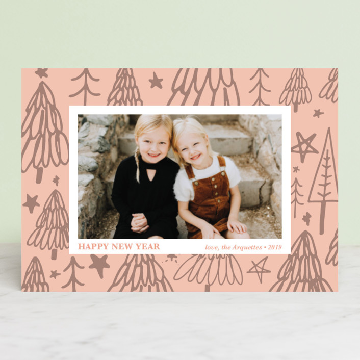 """Christmas Tree Graffiti"" - Modern Holiday Postcards in Blush by Erika Firm."